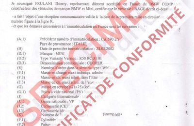 L'utilité du certificat de conformité Bmw