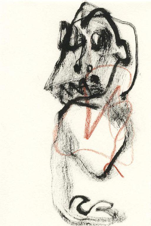 crayon de couleur et encre pygmentée sur papier