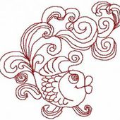 Gold fish free embroidery design