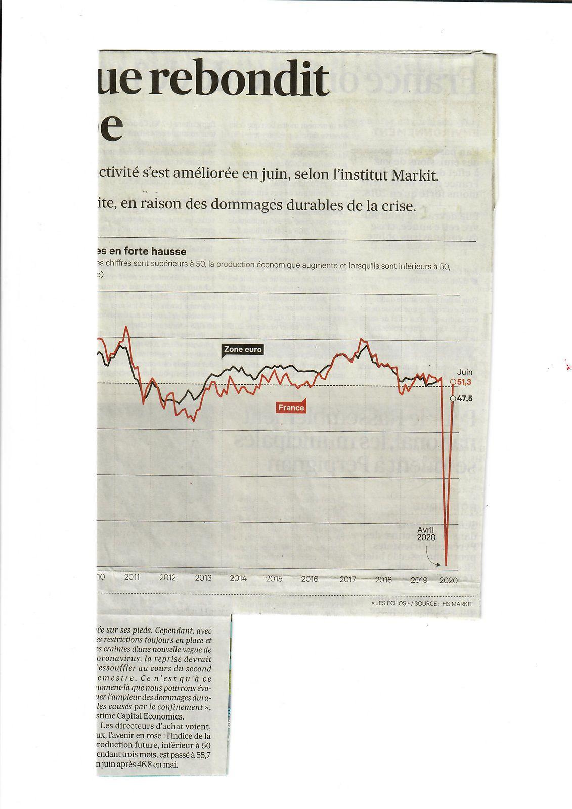 Vus et lus dans Les Echos du 24/06/20, et du 15/09/20