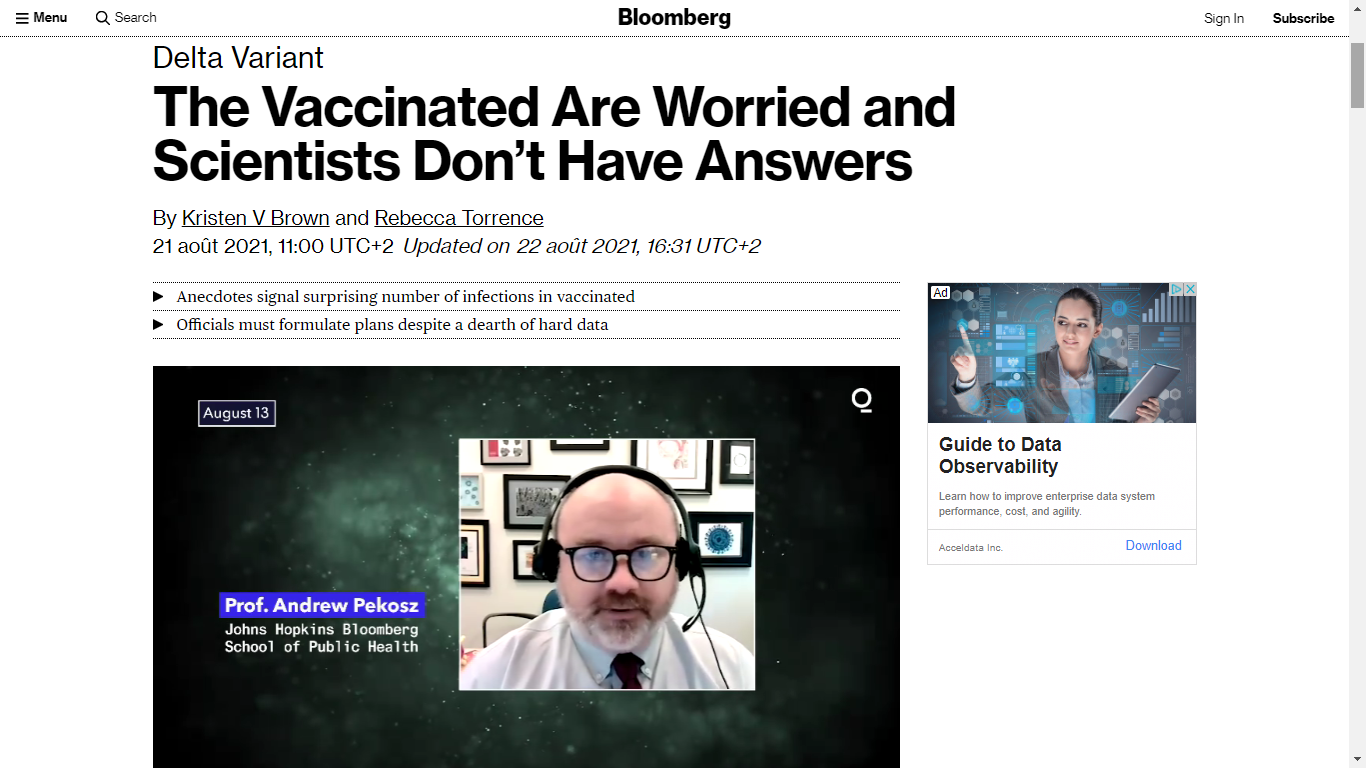 Source : www.bloomberg.com/news/articles/2021-08-21/science-can-t-keep-up-with-virus-creating-worry-for-vaccinated
