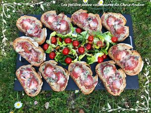 Bruschettas bacon & fromages