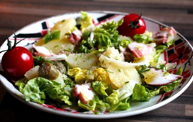 Salade de pommes de terre au poulpe et câprons