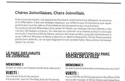 Elections municipales . 2ème tour à Joinville-le-Pont : Il n'est pas minuit...Clap de fin de campagne.