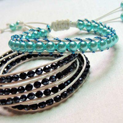 bracelets wrap, bleu et noir...