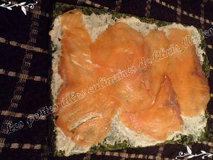 Roulé d'épinards au saumon fumé