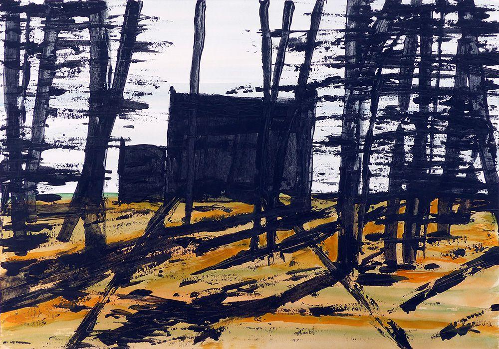 Lucienne Cywier - Sujet n°255 - Allée - 30 x 40 cm - 2 acryliques sur papier 30 x 40 cm