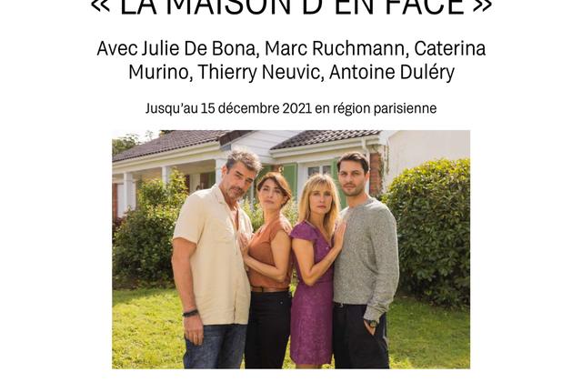 Tournage de la série La maison d'en face, pour M6, avec notamment Thierry Neuvic et Julie de Bona.