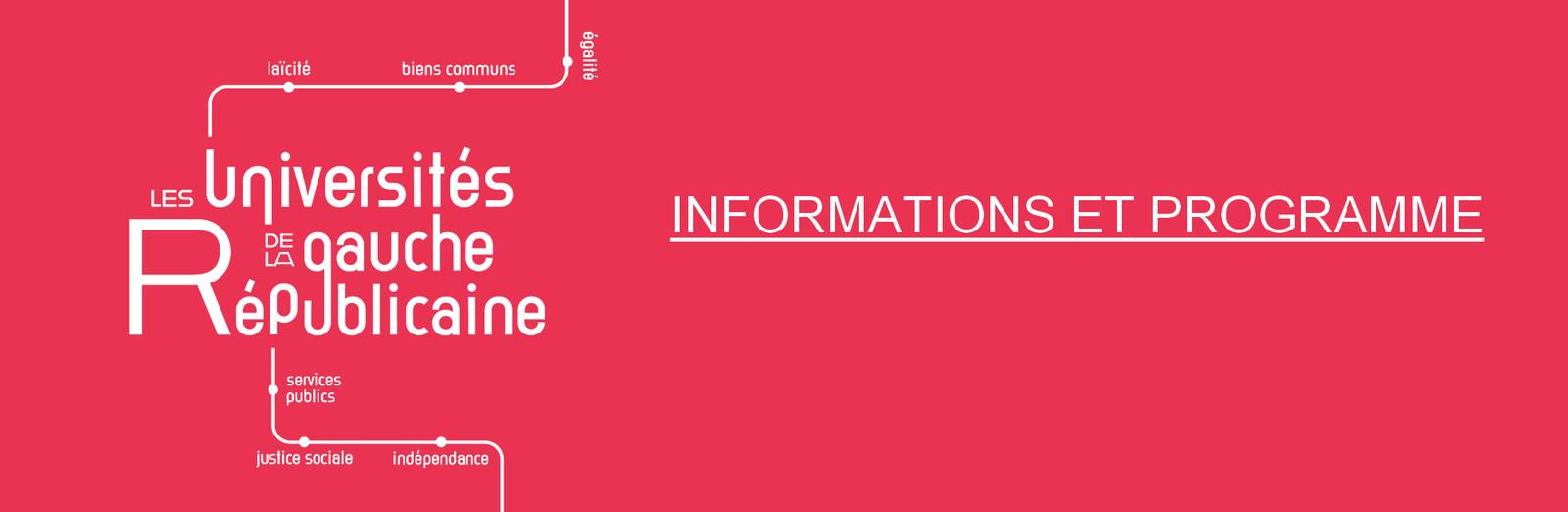 Les Universités de la Gauche Républicaine - samedi 21 et dimanche 22 novembre 2020 - inscrivez vous !