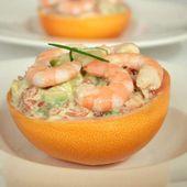 Tartare pamplemousse-avocat-crevettes, citron vert & wasabi - Recette Ptitchef