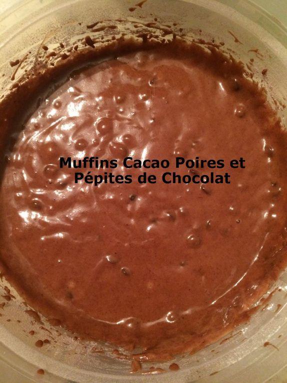 Muffins Cacao Poires et Pépites de Chocolat