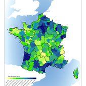 Carte de France de la création d'entreprises par zones d'emploi en 2013 - Chroniques Cartographiques