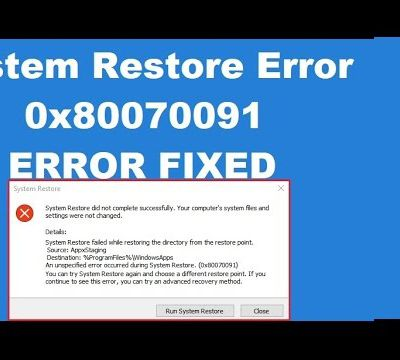 How to Fix 0x80070091 System Restore Error on Windows 10?