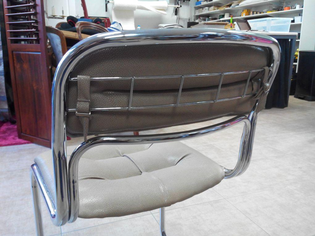 recouverture chaises moderne métal simili Arabesque thiers