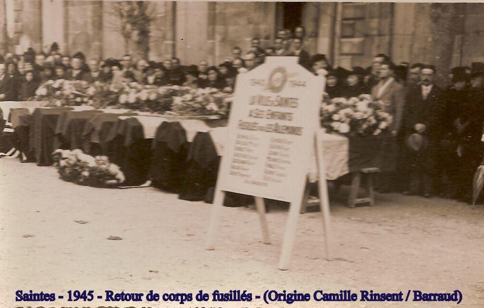 Dignité de la population devant le retour des corps. (merci à madame Millet pour ces documents transmis pour la mémoire)