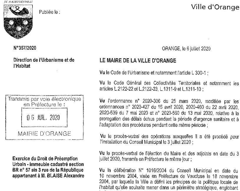 Une décision du maire du 6 juillet: achat de la patisserie Blaise