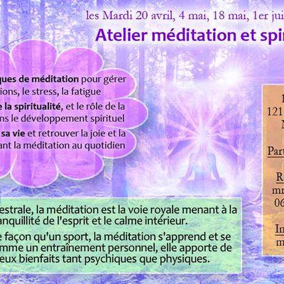 Ateliers de méditation du 20 avril au 15 juin 2021