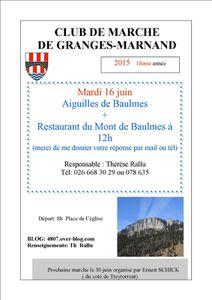 mardi 16 juin: Aiguilles de Baulmes + Restaurant