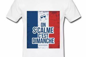 T shirt Drapeau Français bleu blanc rouge Humour du Dimanche HBL