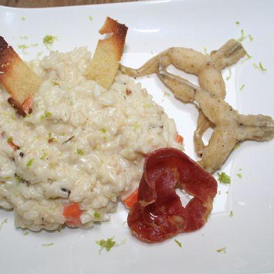 Risotto aux grenouilles des java, nachos de semoule et friture de véntreche