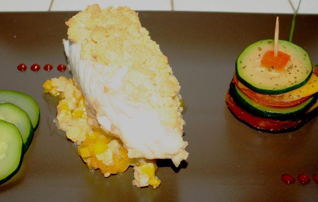 Recette n°28 : Crumble de Julienne sauce mangue, brochette de ratatouille exotique