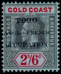 Fig. 1: Les premières surcharges sont réalisées en 1915: 7 timbres allemands du Togo sont surchargés «Togo Anglo French occupation» puis 11 avec la surcharge «Togo occupation franco-anglaise». Les Anglais surchargent  13 timbres de la Gold Coast de «Togo anglo french occupation». En 1916, 12 timbres anglais sont à nouveau surchargés et 17 timbres Français (AEF) sont surchargés  «Togo occupation franco-anglaise».