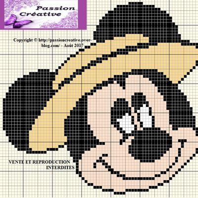 Grille gratuite point de croix : Mickey et son canotier
