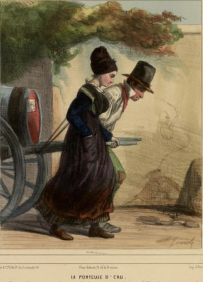 «La porteuse d'eau», vers 1841, d'une intéressante série «Les femmes de Paris» du dessinateur-lithographe Alfred-André Géniole (1813-1861) Musée Carnavalet, Paris