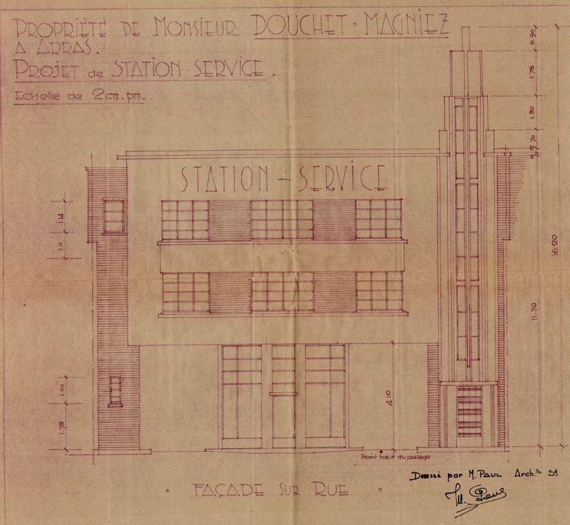 32 route de Lens (voie Notre-Dame-de-Lorette), Station service. Marcel Paul, architecte, 1934 (détail).