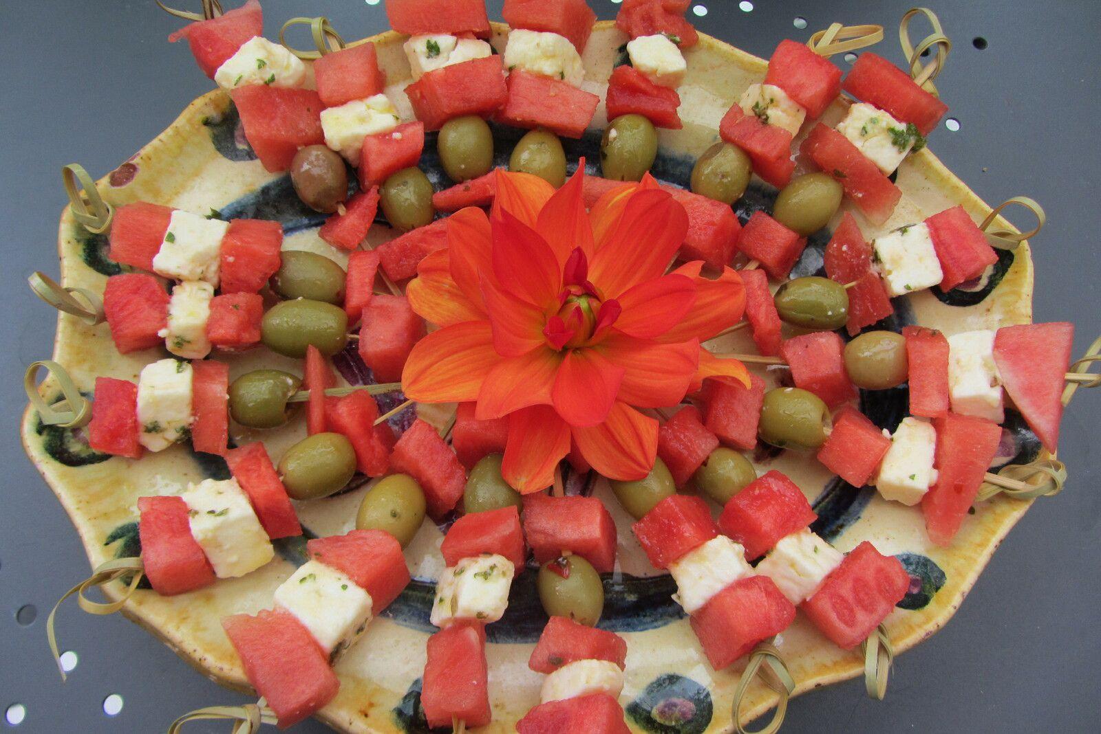 Brochettes de pastèque à la feta
