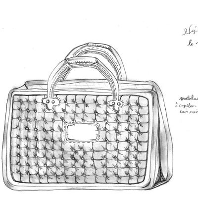 Petite maroquinerie avec motif capiton noir en cuir / Small leather craft with pattern leather black quitling