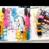 Mixed Media Art Journal Tutorial - Stencil Background with Dylusions Paints