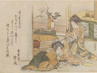 Autres estampes d'Hokusai : Deux jeunes femmes à la lecture, Vieux tigre bondissant dans la neige, et Iris et sauterelle.