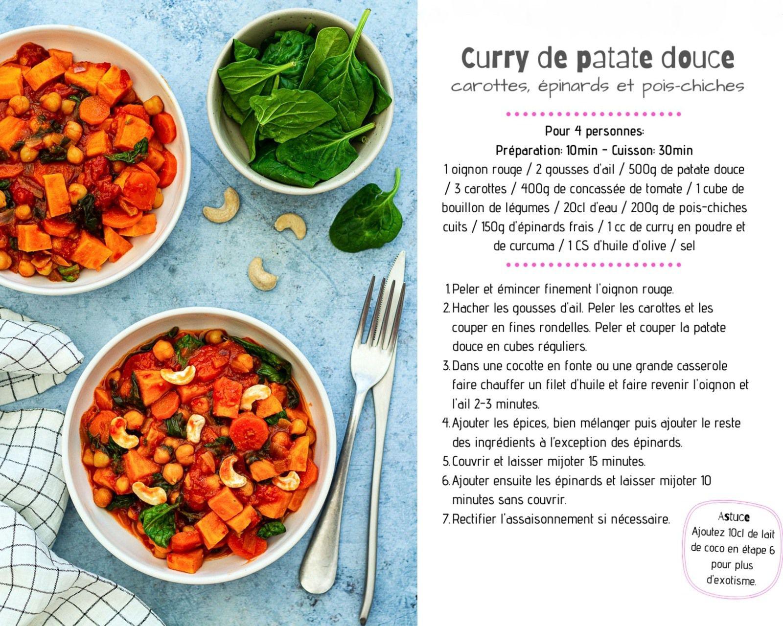 curry patate douce épinards
