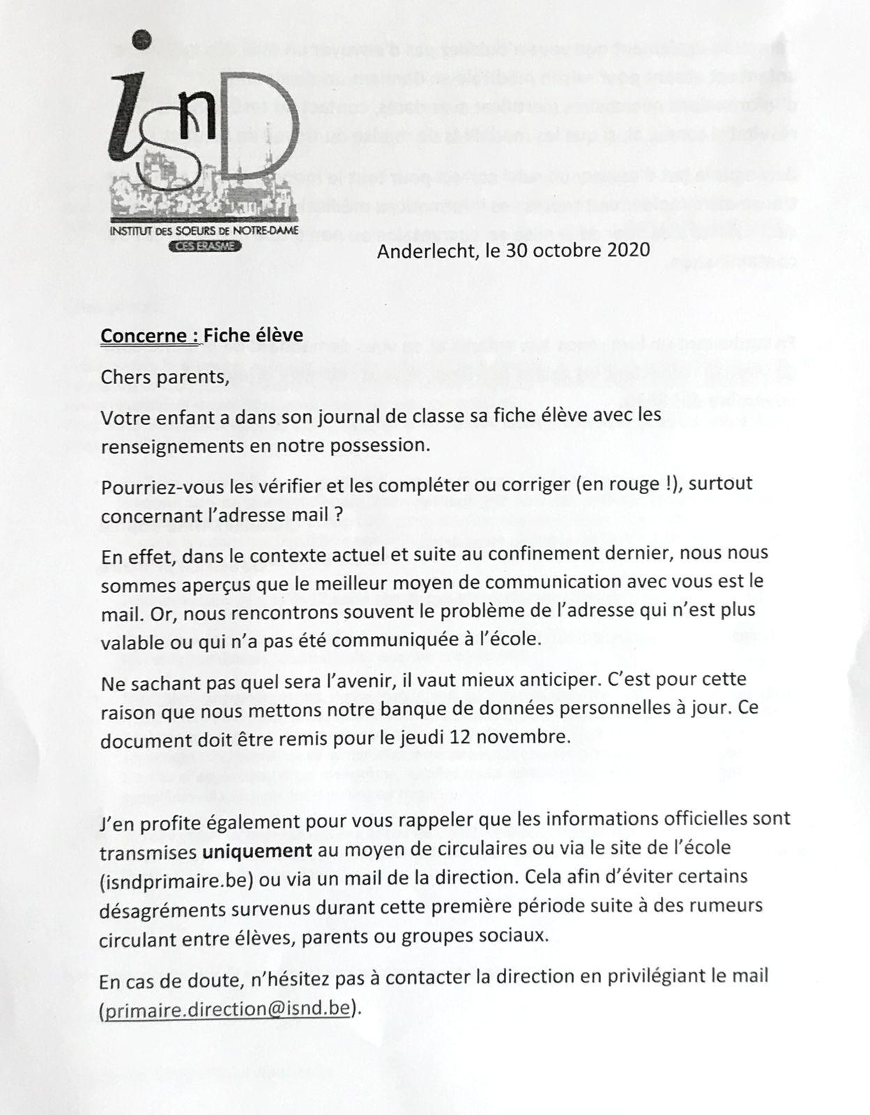 Documents et circulaires reçus ce vendredi 30 octobre