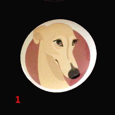 4 badges diamètre 3,7 mm en solidarité aux lévriers galgos et podencos d'Espagne 2,50€ +0,50 € port