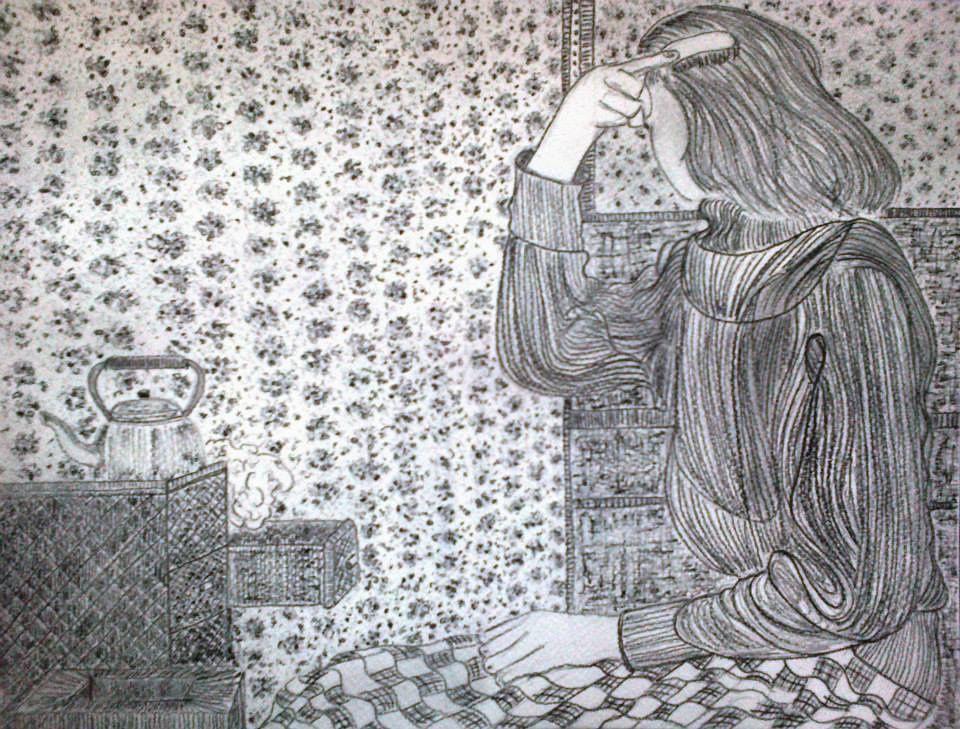 Papier aquarelle 24 x 32cm ( le plus souvent ) Crayon à papier et mine graphite 2012- 2013-