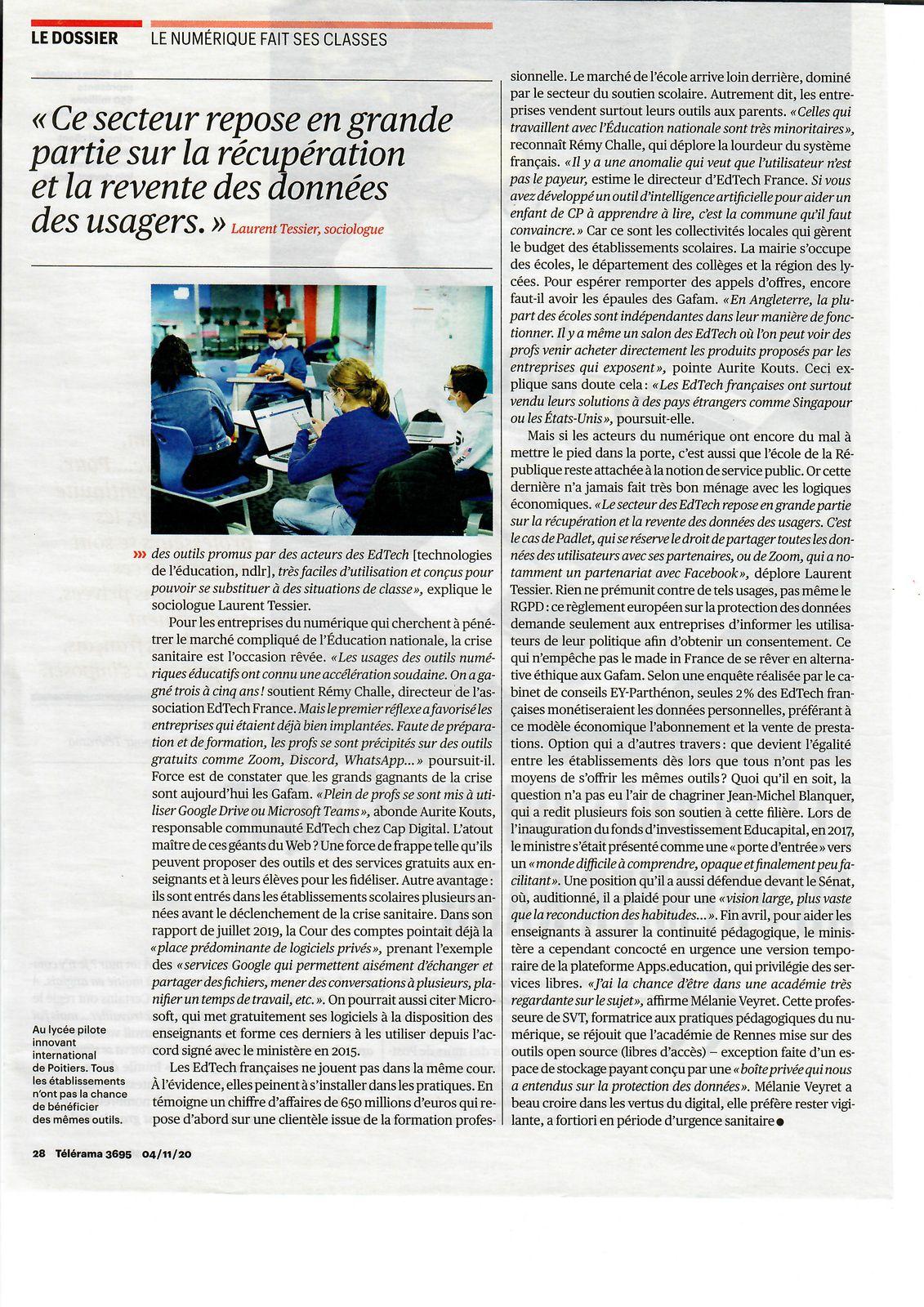 Vu et lu dans Télérama n° 3695 du 04/11/20