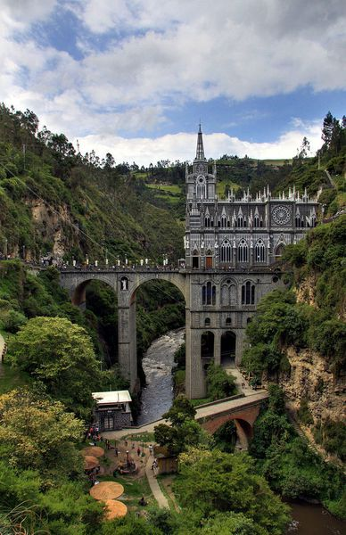 The church 'Nuestra Señora de las Lajas' located in a canyon at an elevation of 100 meters above the river Guáitara, begun in 1795 in connection with the discovery of a captured image of the Virgin on a slab in the middle of the canyon.