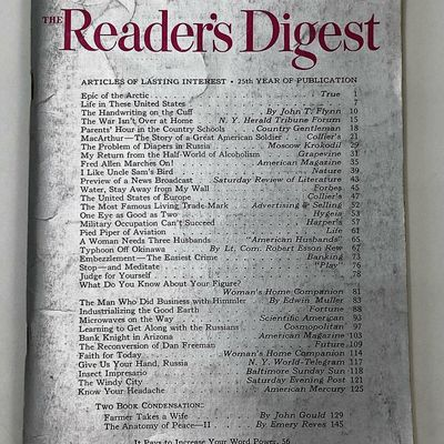 """Reader's Digest Janvier 1946 : """"My Return From The Half-World Of Alcoholism"""""""