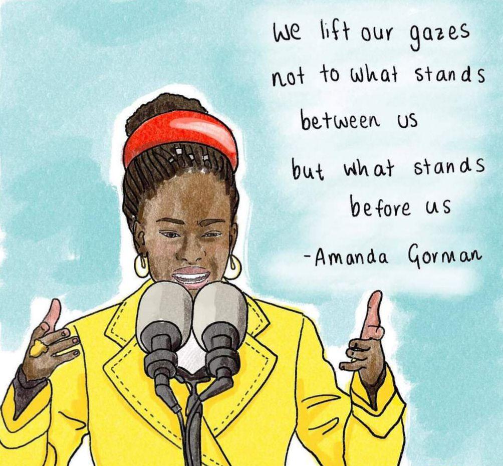 """«Amanda GORMAN et son poème, """"The Hill We Climb"""" (La colline que nous gravissons), fragilité et éloge de la démocratie, dans l'unité nationale» par Amadou Bal BA - http://baamadou.over-blog.fr/"""