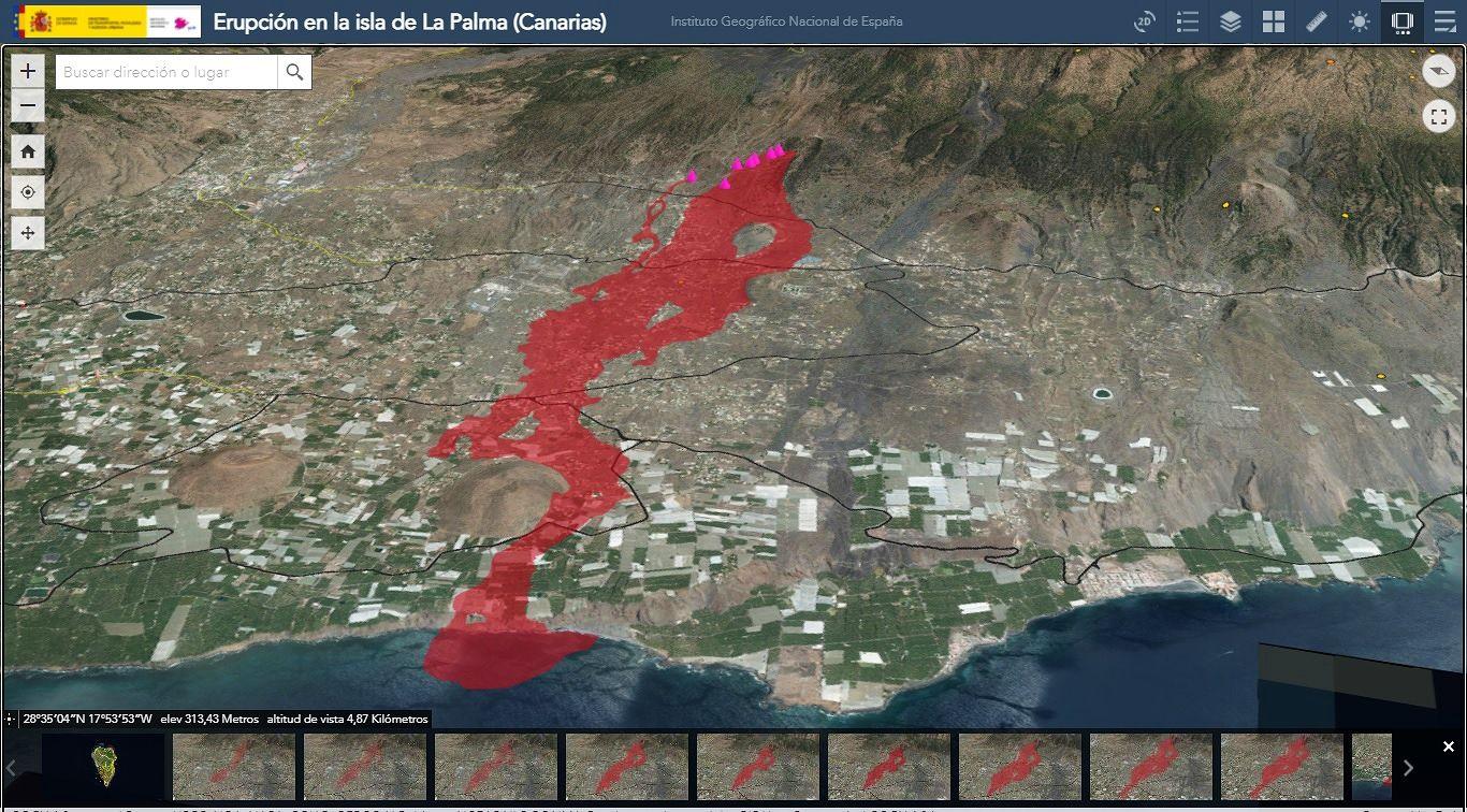 La Palma / Cumbre Vieja - the lava flow at 02.10.2021 / 12:02 UTC, and the eruptive vents (purple cones) - Doc. IGNes