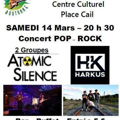 Samedi 14 mars 2020 : ATOMIC SILENCE et HARKUS