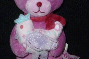 Doudou peluche ours Pommette rose, avec poule ou oiseau, ENVOI POSSIBLE
