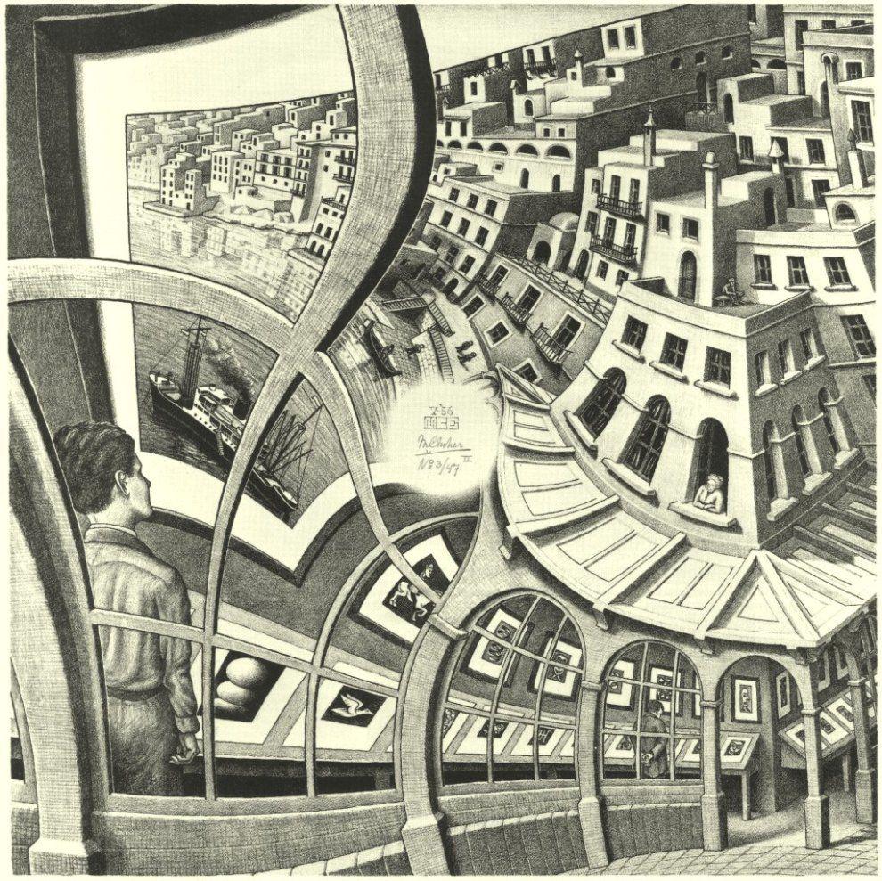 un homme dans une galerie de peinture regarde une galerie dans lequel il est par distorsion