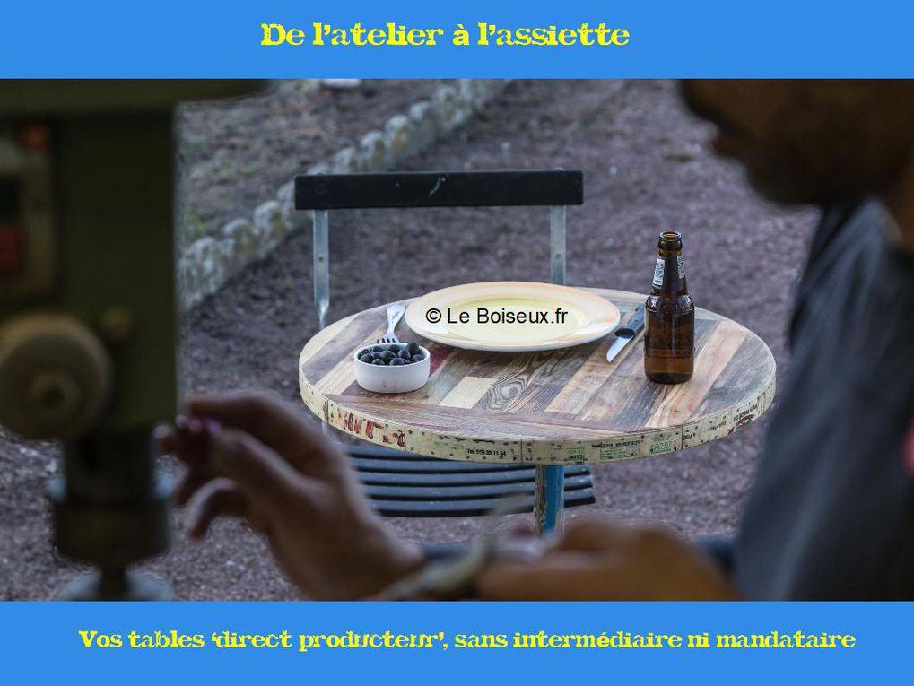"""Interlocuteur unique, Le Boiseux affine, avec vous, votre projet de tables personnalisées, livrées sur site, gère l'intégralité du processus, en circuit court, et vous garantit votre achat à vie, """"pièces et main d'œuvre""""."""