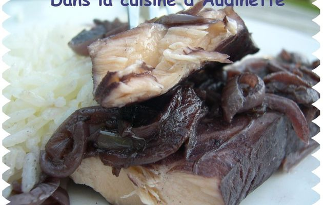 Filets de Saumon au vin rouge
