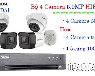 Trọn gói 4 camera 5MP giá rẻ hikvision - Hình ảnh đẹp