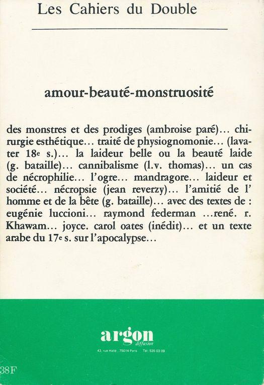 """Les Cahiers du double N°2 - """"Amour - Beauté - Monstruosité"""" - 1978"""