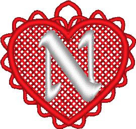 ABC cœur dentelle: la lettre N